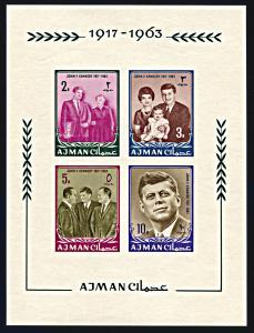 Ajman Michel Block 1B, MNH imperf., John F. Kennedy In Memorium souvenir sheet