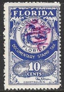 USA FLORIDA 1955 10c Documentary Tax Revenue SRS D31 Used