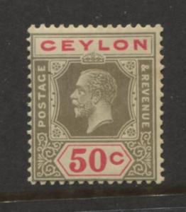 Ceylon -Scott 240 - KGV -Definitive- 1921- MLH - Single 50c Stamp