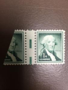 1031 1Cent Washington With Full Gutter And 70% Of Another Stamp Mint Never Hinge