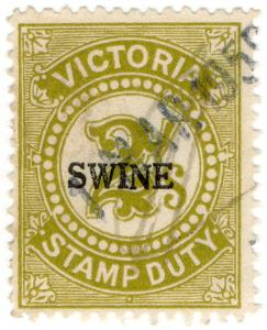 (I.B) Australia - Victoria Revenue : Swine Duty 2/- (large format)