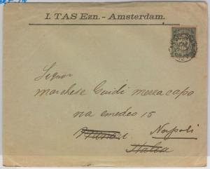 NETHERLANDS Nederland -  POSTAL HISTORY: PERFIN stamps on COVER to ITALY 1900