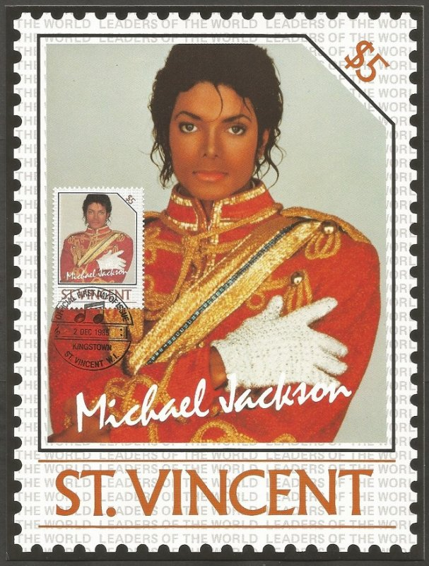 ST. VINCENT STAMP,1985 MICHAEL JACKSON $5 STAMP.FIRST DAY OF ISSUE.MAXI CARD