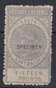SA37) South Australia 1886-96 'POSTAGE & REVENUE' £15 Silver perf 11½-12½