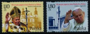 Poland 3647-8 MNH Pope John Paul II, Seventh Visit, Architecture