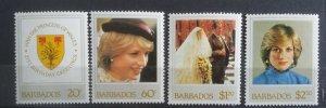 Barbados 1982 Princess Diana 21st Birthday MNH Stamp Set