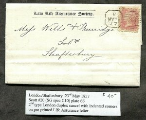 p715 - GB 1857 Penny Red Folded Letter / Cover. London to Shaftesbury. Insurance