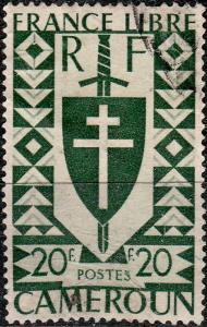 CAMEROUN - 1941 - Yv.262 / Mi.237 20fr vert London issue - VFU