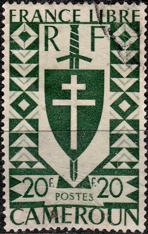 CAMEROUN - 1941 - Yv.262 / Mi.237 20fr vert London issue - VFU