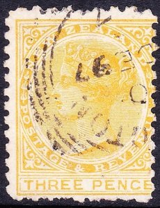 NEW ZEALAND 1891 QV 3d Lemon-Yellow SG221B FU