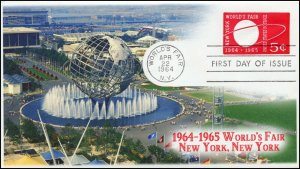 AO-U548, 1,1964, New York Worlds Fair, First Day Cover, Add-on Cachet, 5 cent,