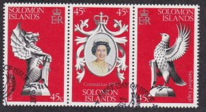 Solomon Isl. # 368a-c, Queen Elizabeth's Coronation 25th Anniv. Used, 1/2 Cat.