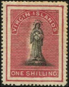 Virgin Islands SC# 7 SG# 11 St. Ursula 1sh MH note toned gum