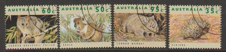 Australia CTO full gum 1992 Wildlife  issues SG 1362, 1364, 1365, 1369