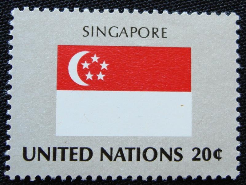 UN #363 MNH, Single, Flag-Singapore, SCV $.25 L10