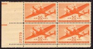 US Stamp #C31 Plate Block 50c Orange Transport Plane MINT NH SCV $47.50