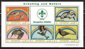 Mongolia, Scott cat. 2497 A-E. Wildlife Fund sheet with Scout Logo.