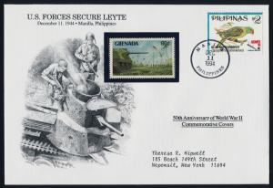 Philippines 2333a + Grenada 1834 on cover - WWII, Birds, US Forces secure Leyte
