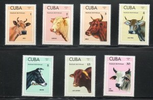 CUBA Sc# 1804-1810  CATTLE cows beef steer  CPL SET of 7  1973  MNH mint