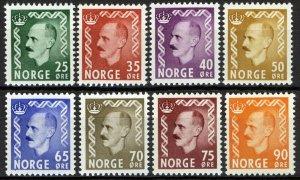 Norway 1955-57, Haakon ørevalues set VF MNH, NK 431-438, Mi 396-401, 414-415