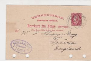 Norway 1894 Bugge & Olsen Laurvig mark to England  Stamps Card ref R 18055