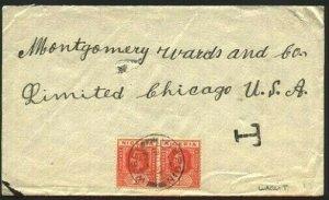 NIGERIA 1924 cover WARRI to USA -  local Warri T tax mark..................96137