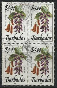 Barbados 1989 Flowers $5 in a used block of 4
