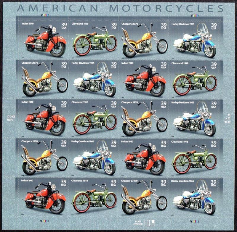 US Scott 4085-4088 (4088a) American Motorcycles - MNH sheet of 20 Stamps