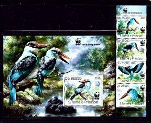 St Thomas and Prince 2669-70 MNH 2014 Birds strip of 4 and souvenir sheet