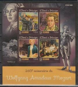 St. Thomas, 2016 issue. Composer W. A. Mozart sheet of 4. ^