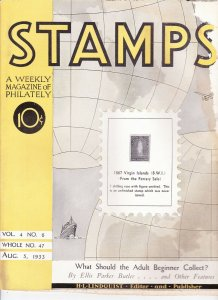 Stamps Weekly Magazine of Philately August 5, 1933 Stamp Collecting Magazine