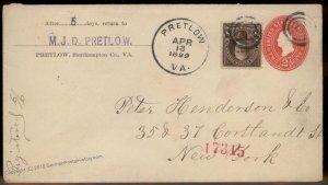 Virginia 1899 Pretlow VA DPO Helbock R5 Registered Cover NYC 92427