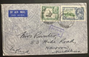 1935 Tanga Tanganyika British KUT Airmail Cover To Harrow England Via London 1