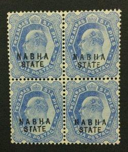 MOMEN: INDIA NABHA SG #40b 1909 BLOCK MINT OG 2NH/2H LOT #193898-2406
