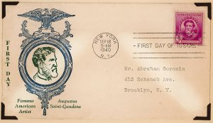 scott 886 1940 Famous American Artist first day cover
