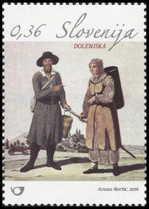 Slovenia. 2016. Traditional dress of the Dolenjska region (MNH OG) Stamp