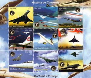 St.Thomas & Principe 2004 HISTORY OF CONCORDE Sheetlet (9) Perforated MNH