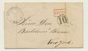 GUATAMALA 1865 LETTER, Sta CRUZ TO NEW YORK, 10 H/S, FRANCO,