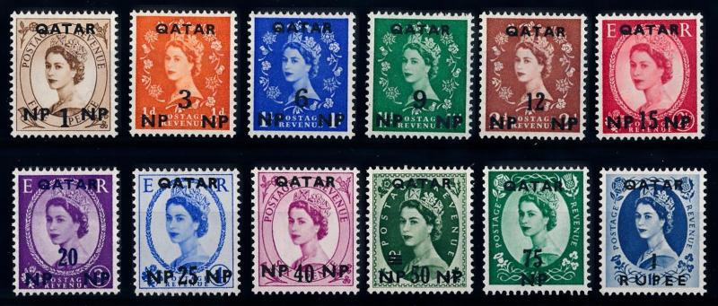[68230] Qatar 1957 Definitives QEII OVP on GB stamps  VLH