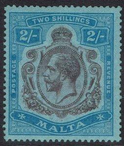 MALTA 1921 KGV 2/- WMK MULTI SCRIPT CA