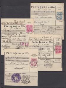 Latvia Sc 177 + others on 4 diff 1935-36 Parcel Cards. Postal Stationery