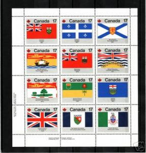Canada - #821 - 832 Provincial Flags S/Sheet of 12 - MNH