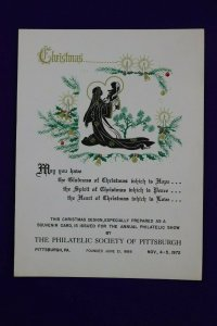 Philatelic Society Pittsburgh PA Christmas 1972 show expo Souvenir card page