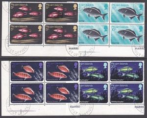 PITCAIRN 1970 Fish set corner blocks of 4 fine used.........................3491