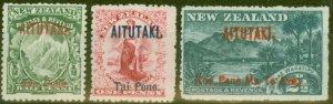 Aitutaki 1903-11 set of 3 SG1-3 Fine Mtd Mint