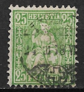 1867-78 Switzerland #55  25c Helvetia used.
