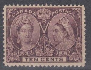 #57 Jubilee 1897 10 cent VF Mint Light hinge Cat $225 Canada