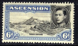 Ascension Island 1938 - 53 KGV1 6d Blue & Black MM SG 43 ( R479 )