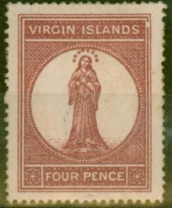 Virgin Islands 1867 4d Lake Red Pale Rose Paper SG15var Broken Frame V.F Mtd Min