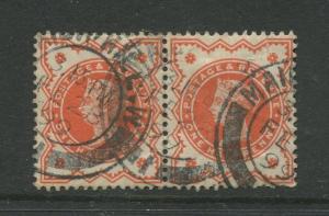 Great Britain  #111  FU 1887 Pair of 1/2p Stamp